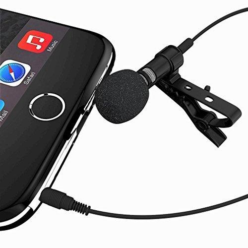 Lavalier Knopflochmikrofon für iPhone LAV Mikrofon Clip auf omnidirektional Handy YouTube Mini iPhone Mikrofon für Video iPhone 77Plus 88Plus X iPad Laptop Smartphone Android Mikrofon von davoice (Iphone Mikrofon Für Video)