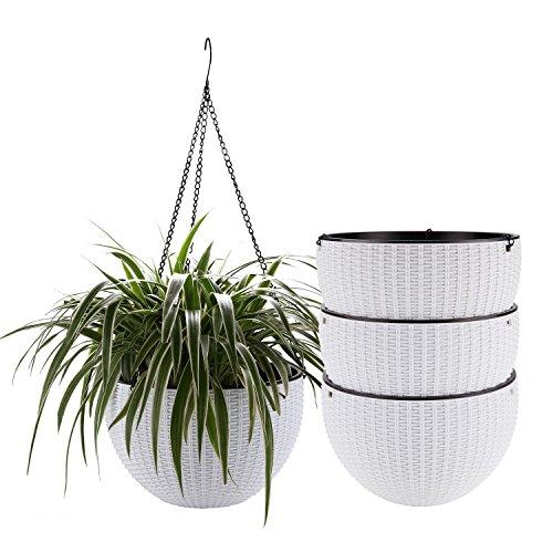 ComSaf Hängepflanztopf Weiß 25.5CM Kunststoff Packung mit 4, Hängeschale für Balkon Hanging Hängeampel Pflanzkorb Sphere Blumenampel Moderner Dekorativer Aufhänger-Topf