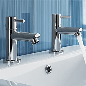 iBathUK   Pair of Hot and Cold Basin Sink Mixer Taps Chrome Bathroom Faucets TB3011