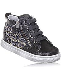 NERO GIARDINI - Sneaker stringata grigio scuro in pelle e glitter d3cdac6bc68