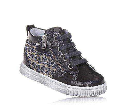 NERO GIARDINI - Sneaker à lacets gris foncé en cuir et glitter, made in Italy, avec fermeture éclair latérale, Fille, Filles