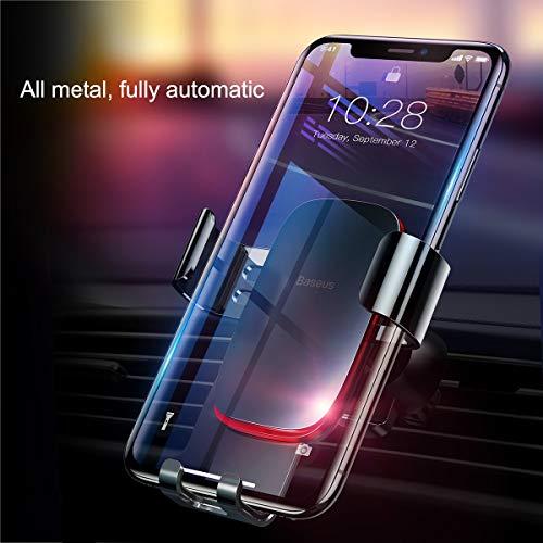 BASEUS KFZ-Halterung, Alle Metall Full Automatische Air Vent Mount Handy-Halter für Auto für iPhone X/8/8Plus/7/7Plus Samsung Galaxy S9/S9Plus/S8/S8Plus und Andere Smartphones, Blask -