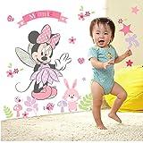 Smart Art Disney Mickey Mouse Wandaufkleber Rosa Blumen Zuhause Wandtattoos Wanddekorationen Schön Geschenke zum Baby Mädchen Frau