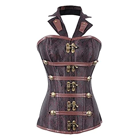 FeelinGirl Women's Cool Warrior Design Steel Boned Brocade Vintage Steampunk