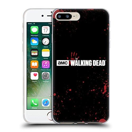 Offizielle AMC The Walking Dead Weiss Logo Soft Gel Hülle für Apple iPhone 6 / 6s Schwarzes Blut