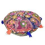 Indisches Meditationskissen rund 38cm Durchmesser orientalisches Baumwoll-Patchwork Sitzkissen Stoff-Faser