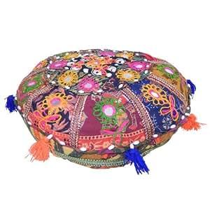 coussin de m ditation indien coussin de sol rond patchwork en coton multicolore d coration. Black Bedroom Furniture Sets. Home Design Ideas