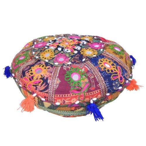 Patchwork-sitzkissen (Indisches Meditationskissen rund 38cm Durchmesser orientalisches Baumwoll-Patchwork Sitzkissen Stoff-Faser)