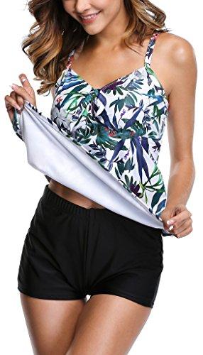 ALove Damen Tankini Set Figuroptimizer Zweiteilig Blumen Bademode Mit Hotpants Blätter