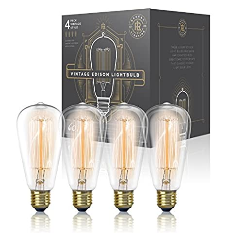 Vintage Edison Light Bulb 60W (4 Pack) - Dimmable Exposed Filament - Incandescent Clear ST58 Teardrop Squirrel Cage Style - E26 Medium Base 2200K - 210 Lumens