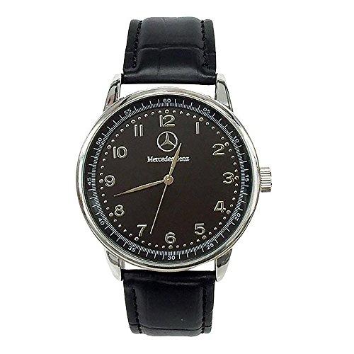 Mercedes Benz - Reloj deportivo redondo de cuarzo, pulsera negra, batería de repuesto gratuita y bolsa de regalo gratuita