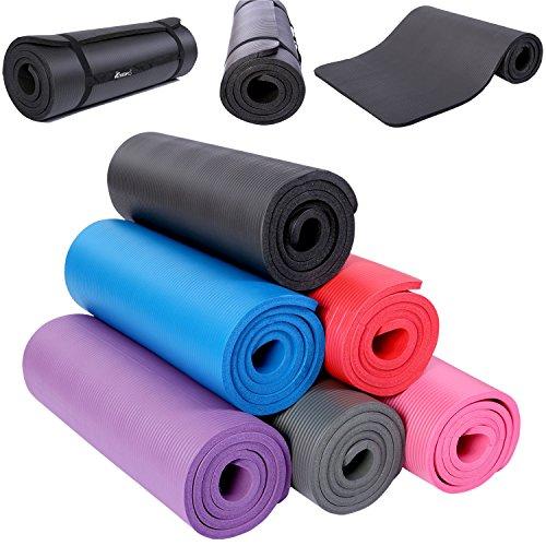 TRESKO Fitnessmatte Yogamatte Pilatesmatte Gymnastikmatte in 6 Farbvarianten / Maße 185cm x 60cm in 2 Stärken / Phthalates-getestet / NBR Schaumstoff / hautfreundlich, anschmiegsam, kälteisolierend (Schwarz, 185 x 60 x 1.5 cm)