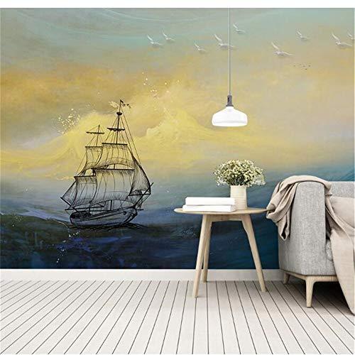 Murale, 3D Personalizzato Retrò Tempesta Rompendo Oceano Candela Decorazione Della Casa Pittura A Olio, 416 Cm (W) X 254 Cm (H)