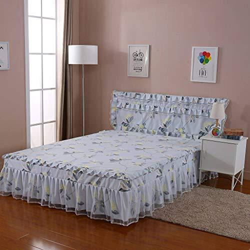 QXJR Bettröcke,Elastic Bettrock,Bettvolant,Tagesdecke Dreiseitiges Paket rüsche Rock Volltonfarbe Bettwäsche Hergestellt aus Spitze Schlafzimmer-B-120x200-2