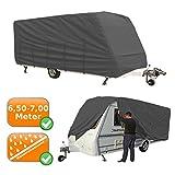 LUXUS Wohnwagen Garage 6,5-7,0m Caravan Abdeckung, atmungsaktiver + reißfester mehrschichtiger Stoffüberwurf, wasserabweisende Wohnwagenhülle, Farbe: grau
