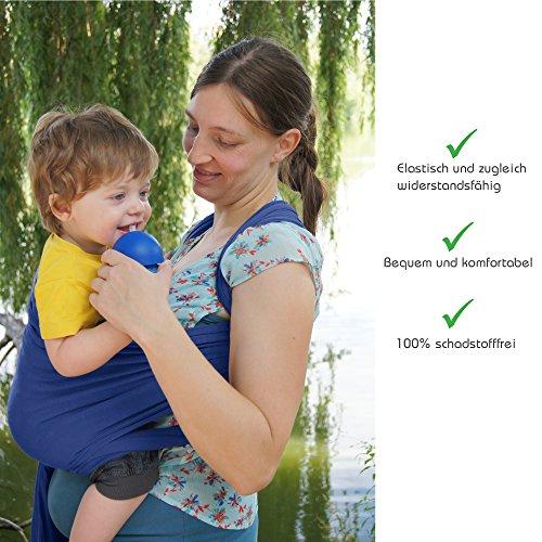 Premium Baby-Tragetuch aus 100% Baumwolle für Neugeborene und Kleinkinder | Hochwertiges Umhängetuch | Elastisches Kindertragetuch mit deutschsprachiger Anleitung für Bindetechniken (Hell-Blau) - 3
