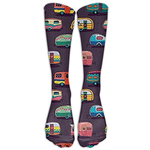 Happy Camper By Penguinhouse Tube Socks For Women & Men - Graduated Athletic Fit For Running, Nurses, Flight Travel, Skiing & Maternity Pregnancy - Boost Stamina & Recovery -