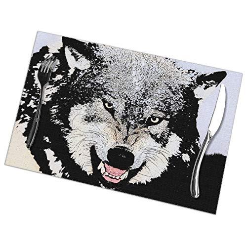 SLHFPX - Tovagliette all'Americana Render-Wolf Resistenti al Calore, Anti-incrostazione, Antiscivolo, tovaglietta, Decorazione per la tavola della Cucina, 30,5 x 45,7 cm, 6 Pezz