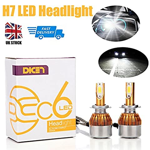 H7 LED Bulbs Car Headlight Conversion Kit 120W 12000LM Replace High Beam/Low Beam Light Lamp Cool White 6000K COB Chips Super Bright Plug & Play - 2 Year Warranty