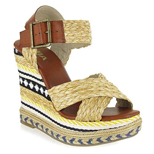 Mia Fareena Femmes Toile Sandales Compensés Natural