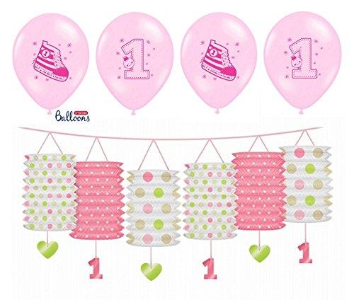 Hochstuhl Geburtstag 1. Banner (FesteFeiern Laternen Girlande Deko zum 1. Geburtstag Mädchen | 5 Teile mit Laterne Banner und Luftballons | leuchtend pink rosa happy birthday Prinzessin)