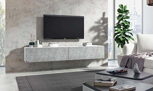 Wuun® TV Board hängend/8 Größen/5 Farben/200cm Matt Weiß- Beton/Lowboard Hängeschrank Hängeboard Wohnwand/Hochglanz & Naturtöne/Somero