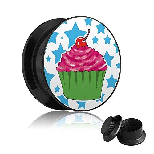 Treuheld Motiv Plug - Gewinde - Cupcake - Sterne 4 mm