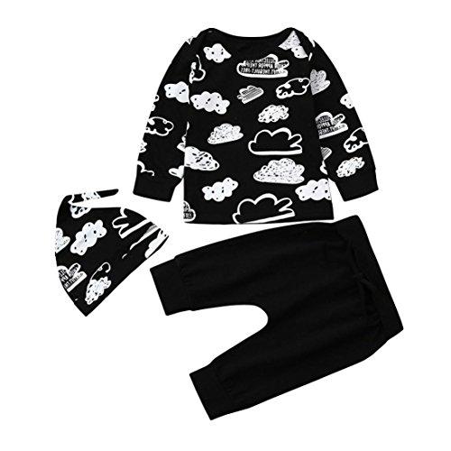 BeautyTop 3PCS/Set Neugeborene Baby Jungen Mädchen Spielanzug Tops + Herz Hosen Stirnband Outfits Kleidung Kinder Wolke Doodle Top + Hosen + Hut dreiteilig (6Monat)
