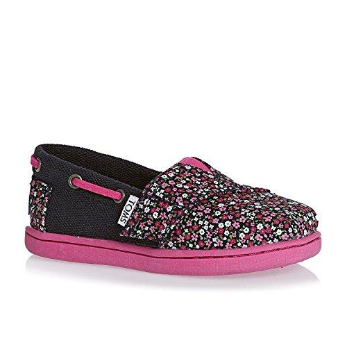 Toms Schuhe Toddler Boy (TOMS Unisex-Child-Schuhe in Schwarz Chambray, Pink Ditsy Floral/Burlap - Größe: 17 EU Kleinkind)