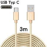TheSmartGuard | USB-C Kabel auf USB 2.0 | Nylon Ladekabel mit USB-Typ-C-Anschluss | Länge: 3 Meter / 3m | Farbe: Gold