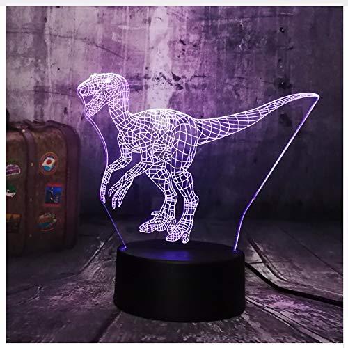Nouveau-Monde-Dinosaure-Velociraptor-Intelligent-Bleu-3D-Led-Veilleuse-Lampe-De-Table-De-Vacances-7-Couleurs-Garon-Enfant-Fte-De-Nol-Cadeau