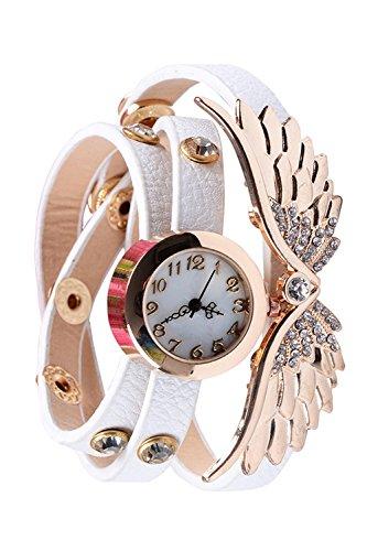 Donne signore ali d'angelo strass PU pelle Bracciale quarzo da polso orologio White - Cinturino Strass Guarda