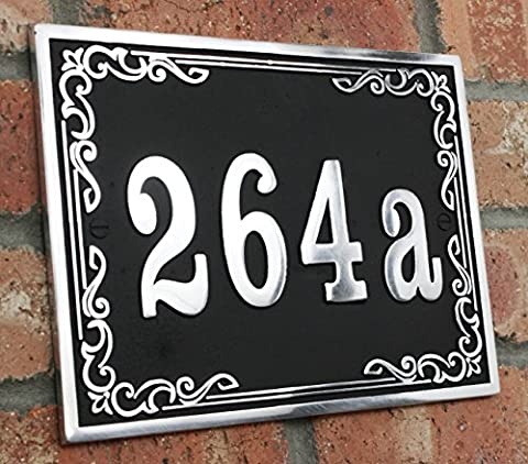 House address plaque with your house number in a classical Style. Solid Aluminium hand made to order in