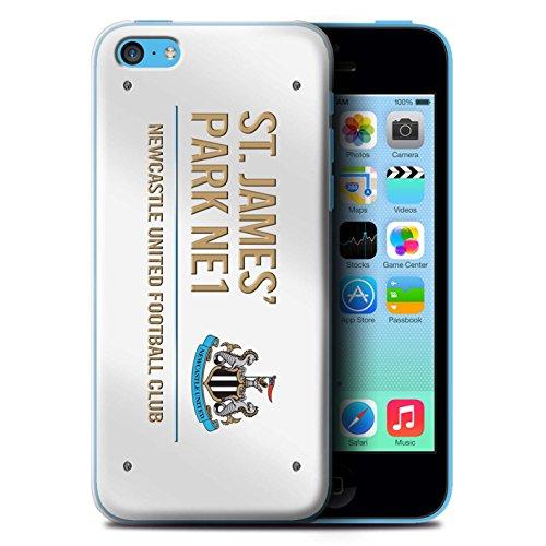 Offiziell Newcastle United FC Hülle / Case für Apple iPhone 5C / Schwarz/Weiß Muster / St James Park Zeichen Kollektion Weiß/Gold