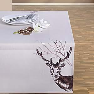 110x160 creme ecru Tischdecke Weihnachten Hirsch Weihnachtstischdecke Weihnachtsdeko rechteckig cream DEER 2