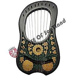 Neu Lyra Harfe 10Metall Saiteninstrumente Shesham Natur Holzlyra Harfelyra Harpefall