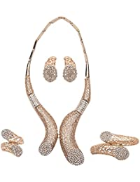 IGP Gold Plated Arabic Style Jaali Work CZ Stone Studded Fashion Jewellery Set For Women And Girls With Ring And...