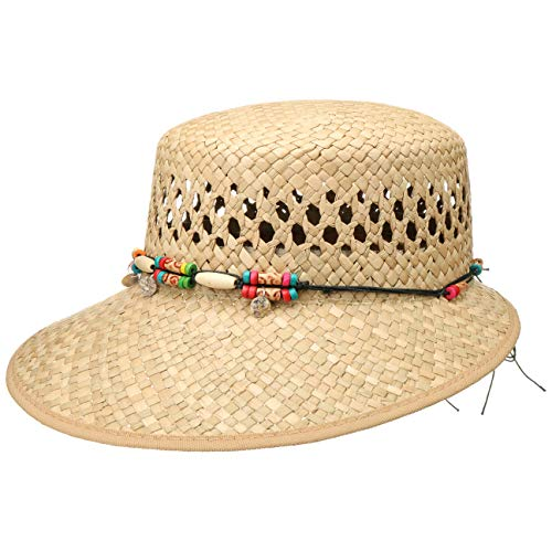 79f9e375a Lipodo Sombrero de Paja Indila Schute Mujer | Made in Italy Gorra Sol con  Ribete, Visera Primavera/Verano | Talla única Natural