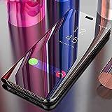 Cool & Creative -Mi Redmi Note 5 Pro Mobile Clear Case - PC Mirror Flip Folio Case Cover Magnetic Stand - Ultra Slim Thin Full Body Protection - Diamond Black