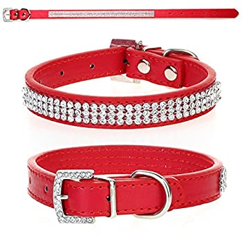 CellDeal-Collier en Cuir PU Strass Brillant pour Chien Chat Rouge M