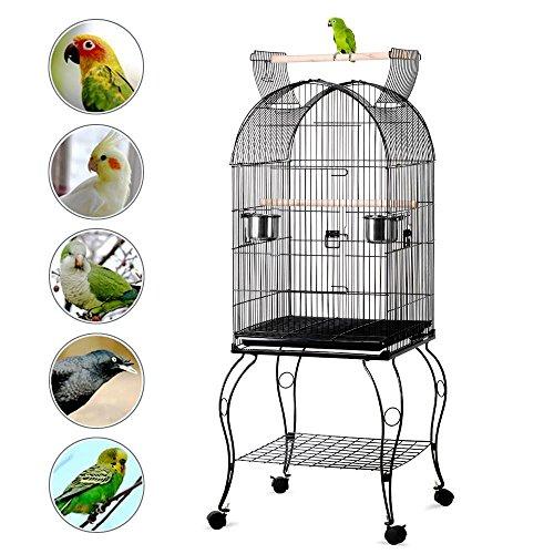 Yaheetech gabbia voliera per uccelli pappagalli con carrello e tetto apribile in metallo e legno nera 59 x 59 x 150 cm)