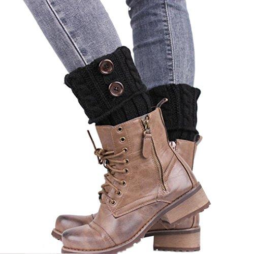 Sannysis Stricken Stiefel Socken Beinlinge Boot-Abdeckung Keep Warm Socks (Schwarz)