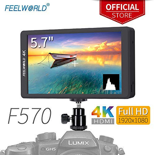 Feelworld F570 5.7 Pulgadas On Camera Field Monitor de Campo DSLR Cámara Small HD Focus Video Assist 1920x1080 IPS con 4K HDMI Input Output Estuche Metálico