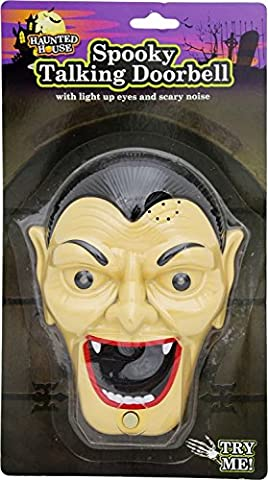 Spooky Halloween Talking Door Bell- Lights up & Sounds- Witch, Pumpkin, Mummy or Dracula (Dracula)