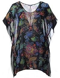Tunika Damen Shirt Oversize kurzarm m Leinen Pailletten koralle 42 44 46 48