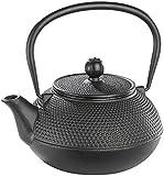 Rosenstein & Söhne Gusseiserne Teekanne: Asiatische Teekanne aus Gusseisen, 0,9 Liter, für säurearme Teesorten (Gussteekanne)