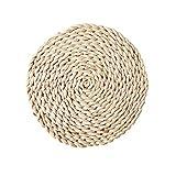Momangel- Napperons antidérapants ronds et ovales en rotin résistants à la chaleur et aux taches pour décoration de cuisine, Round 20cm