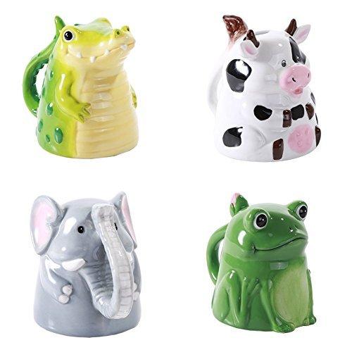 own Keramik Porzellan Kaffeebecher-Set Animal, Kuh Elefant Frosch und Alligator ()