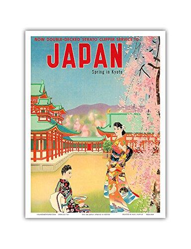 Pacifica Island Art Japan-Frühling in Kyoto-Pan American World Airways (PAA)-Vintage Airline Travel Poster c.1950s-Master Kunstdruck 9