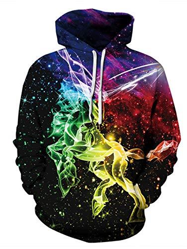 Männer Pullover Muster (Idgreatim Männer 3D Print Katze Galaxy Pullover Kapuzenpullover lustige Muster mit Kapuze Sweatshirts Taschen für Jugendliche Jumper)